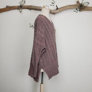 Free People Sweaters - Freepeople easy cableknit v neck sweater mushroom